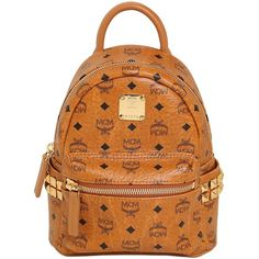 Mcm Women Extra Mini Stark Coated Canvas Backpack ($820) ❤ liked on Polyvore featuring bags, backpacks, tan, zip bags, strap bag, mini backpack, coated canvas backpack and strap backpack