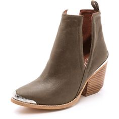 Jeffrey Campbell Cromwell Hi Booties - Khaki/Silver ($154) ❤ liked on Polyvore featuring shoes, boots, ankle booties, ankle boots, cutout booties, jeffrey campbell boots, cutout bootie and pointed toe ankle boots