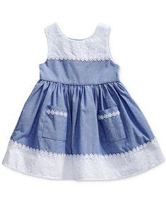 Image 1 of Sweet Heart Rose Chambray & Eyelet Dress, Baby Girls