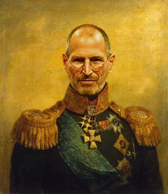 Steve Jobs by Steve Payne (who created the Replaceface series, where Steve took digital copies of George Dawe's paintings of russian generals and added celebrities faces to the portrait using photoshop) Chuck Norris, Steve Jobs, Pink Floyd, An Officer And A Gentleman, Mona Lisa, Painting Words, English Artists, Classic Paintings, Celebrity Portraits