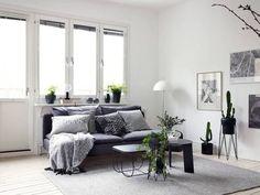 Black decor in a white interior