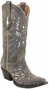Lucchese Since 1883 Womens Western Boots Grey Crackle Calf /Silver Matte Inlays M3587