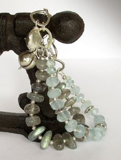 Multistrand Labradorite, Aquamarine Bracelet - March Birthstone