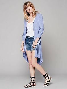 Free People Ribbed Up Maxi Cardigan. Only in grey