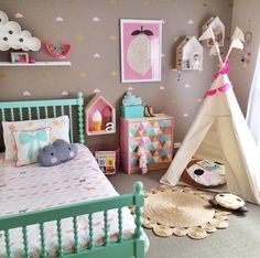 Another gorgeous room by @petitevin Petite Vintage Interiors - with a MIDI Moozlehome.com teepee ;)