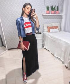 One of the coolest examples of trends is today: High Waisted Skirt Outfit ideas for summer for stylish ladies! Especially this is the most perfect outfit. Modest Dresses, Modest Outfits, Skirt Outfits, Summer Outfits, Casual Outfits, Cute Outfits, Muslim Fashion, Modest Fashion, Fashion Outfits