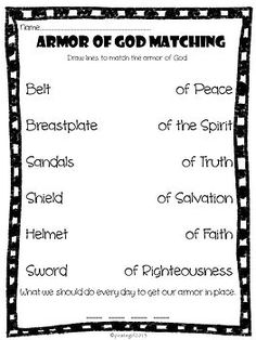 Messianic Prophecy Activity: List and Match answer key #