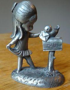 Hallmark 1980 Pewter Figurine Little Gallery Joan Walsh Anglund Girl Bird Mail