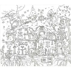 fairy house colouring in poster by really giant posters | notonthehighstreet.com