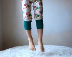 Kids Yoga Leggings Pants White and Flowers with by MyLittleAura