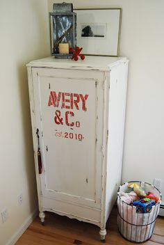 Turn and old worn out wardrobe into a stylish storage closet.  love the name idea for my home Want this by my kitchen..