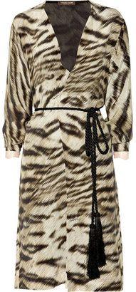 ShopStyle: Roberto Cavalli Lace-trimmed tiger-print silk robe