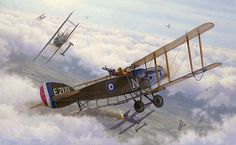 The Bristol Fighter was a maneuverable, heavily armed two-seater biplane, and one of the most successful fighters of the war. By the end of the war over 240 pilots and gunners achieved ace status in the type.Two Birds with One Stone depicts an engagement on Sept. 6, 1918, in which Capt. H.P. Lale and 2/Lt H.L. Edwards achieved simultaneous victories against Fokker DVIIs while flying Bristol fighter E\'2181.