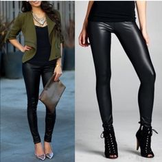 1 HR SALEDEBORAH slick leggings - BLACK Stretchy faux leather leggings. Super sexy & flattering. NO TRADE, PRICE FIRM Bellanblue Pants Leggings