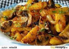 Brambory pečené s cibulí a žampiony recept - TopRecepty. Cooking Light Recipes, Cooking For Two, Easy Cooking, Cooking Ham, Cooking Turkey, Best Lunch Recipes, Easy Healthy Recipes, Cooking Eggplant, How To Cook Asparagus