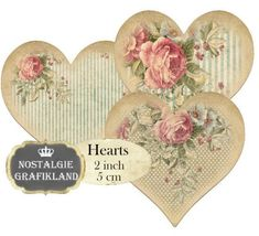 Shabby Chic Hearts 2 inch Instant Download by NostalgieGrafikland