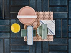 The Claybrook Yokohoma blue from our stunning Raku range is the perfect backdrop for the rest of the gorgeous tiles in this flat lay. From recycled glass matt mosaic to hand painted terracotta for wall and floor, we've got it covered. Learn more by visiting us online.