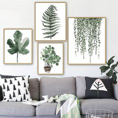 Nordic Canvas Art Poster Wall Hanging Picture Plants Leaves Decor Homex1Pc
