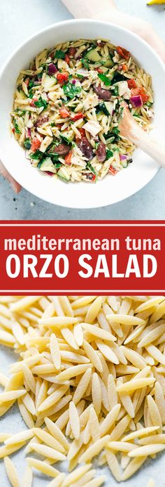A deliciously light and healthy Mediterranean-inspired orzo salad with tuna, veggies and a lemon-oregano vinaigrette. Easy and healthy!