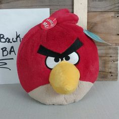 Angry Birds Medium 8 Inch Plush Toy With Sound - Red Terence NWT 2010 #Commonwealth