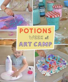 Week at Art Camp This week in art camp, the kids explore potions and recipes for lots of messy fun!This week in art camp, the kids explore potions and recipes for lots of messy fun! Summer Camp Art, Summer Camp Activities, Summer Camp Crafts, Camping Crafts, Summer Kids, Craft Activities, Art Camp, Camping Tips, Solo Camping