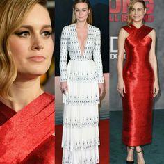 A Brie Larson se destacou novamente, nas pré-estreias de Kong: Skull Island, em Londres, vestindo branco estampado, #ralphandrusso. E em Hollywood. De vermelho #oscardelarenta. #glamourous #brielarson #fashionstyles #inspirations #kongskullisland #premieres #hollywood #london
