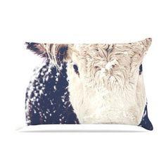 KESS InHouse Snowy Cow by Debbra Obertanec Cotton Pillow Sham
