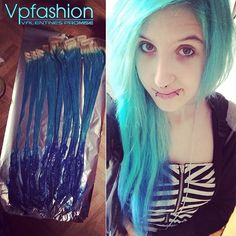 The Hottest Hair Dye Colors and Ideas Inspired by Vpfashion Beauties 20inches pastel green and blue hair colors based on 613a white blonde hair extensions
