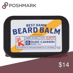 Duke Cannon Best Damn Beard Balm While a well manicured beard is a symbol of power & prestige, an unruly and disheveled beard has the potential to lead society into complete anarchy. Do your duty & maintain your beard with Duke Cannon's Best Damn Beard Balm. Made with superior grade ingredients like lanolin & cocoa butter, our Beard Balm helps moisturize and protect a man's beard and the face underneath it. With a pleasant, woodsy fragrance, & packaged in a premium travel tin, it's like a…