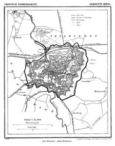Gemeente Breda in ca. 1870 kaart J. Kuijper. Speelhuis duidelijk ingetekend linksboven.