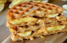 A twist on the ho-hum frozen waffle breakfast, this creative breakfast sandwich…