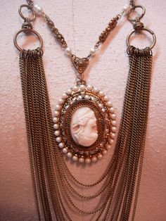 Vintage Angel Skin Coral Cameo Necklace genuine pearls Huge statement piece - Necklaces & Pendants