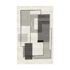 Abstract Lines Wool Rug, Platinum, 5'x8'