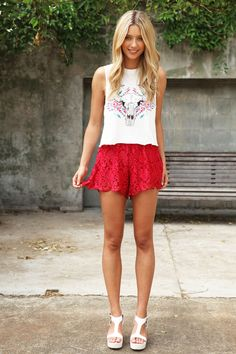 #Fashion #Style #Clothing #Outfits #Red #White #Head #Animal #Lace #Pumps #Heels #Tan #Cute #Adorable #Love #Outfit #Clothes #Summer