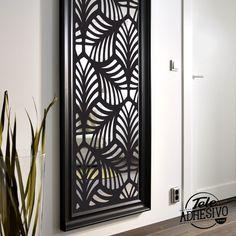 Espejo de Ikea decorado con vinilo adhesivo #recibidor #espejo #decoracion #vinilo #TeleAdhesivo Laser Cut Screens, Wrought Iron Gates, Ikea, Mosaic Art, Nifty, Art For Kids, Interior, Rodin, Mirror