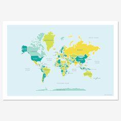 Weltkarte Blues und grünen von englishmuffinshop auf Etsy, $30.00