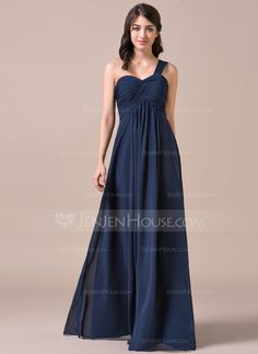 Empire One-Shoulder Floor-Length Chiffon Bridesmaid Dress With Ruffle (007057720)