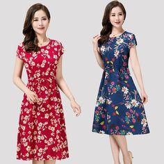 새로운 여성의 여름면 실크 드레스 큰 야드 엄마 느슨한면 실크 꽃 무늬 드레스 여름 해변 드레스 레이온