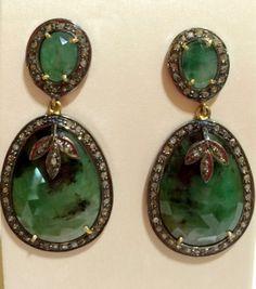 Pendientes #esmeralda con #diamantes talla antigua 490€