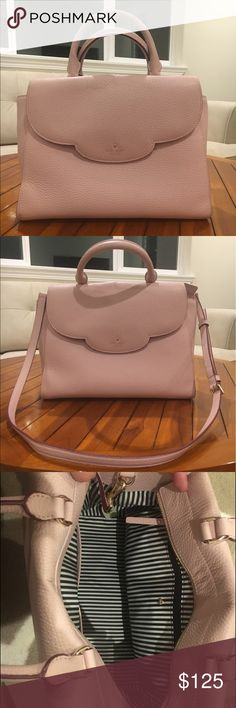 Kate Spade Scallop handbag Flawless inside and out. Used only a few times. Can be used two ways! Beautiful blush pink color and soft leather! All sales final kate spade Bags Shoulder Bags