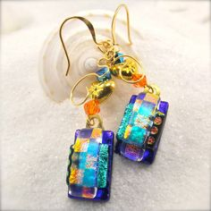 Eastern Delights Dichroic Earrings by HanaSakuraDesigns on Etsy