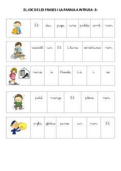 El joc de les frases i la paraula intrusa Speech Language Therapy, Speech And Language, Speech Therapy, Lectures, Childhood Education, Baby Cards, Valencia, Teacher, How To Plan
