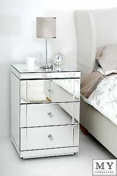My Furniture - Mirrored Furniture Bedside Table cabinet 3 Drawers - LUCIA Mirrored Bedroom Furniture, Glass Furniture, My Furniture, Furniture Layout, Furniture Design, Bedroom Decor, Mirror Bedside Table, Dresser As Nightstand, Mirror Drawers