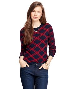 "<a href=""#pdplearnmore"" class=""lm"">The Red Fleece Collection</a><br>Long-sleeve Merino wool sweater with three-button placket at center back. Rib trim at neck, sleeves, and hem. Large windowpane pattern on front and back of sweater, smaller windowpane pattern on sleeves. 22½ "". Dry clean. Imported."