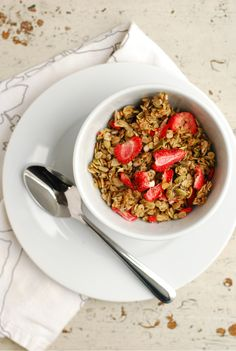 Homemade strawberry granola makes a delicious (& healthy!) breakfast or snack!