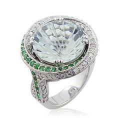 #Malakan #Jewelry - Platinum-Silver Green Amethyst Ladies Diamond Ring 78401AA #Fashion #FashionRings #WomensFashion
