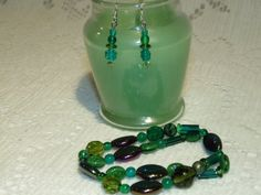 Fall Green  Dark Green  Czech Glass Statement by SandiesGiftCorner, $10.95