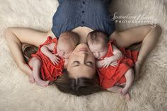 Mother and Twin Girls ~ Knoxville Newborn Photographer