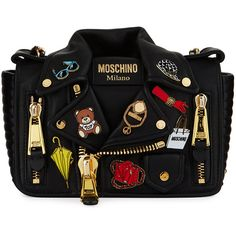 Moschino Fashion Pins Biker Jacket-Shaped Shoulder Bag (13,065 CNY) ❤ liked on Polyvore featuring bags, handbags, shoulder bags, black pattern, chain shoulder bag, zip shoulder bag, chain strap purse, zipper flap purse and zip purse