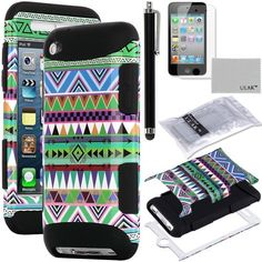 Pandamimi ULAK(TM) 3-Piece Hybrid High Impact Case Green Tribal Pattern with Black Silicone Inner Soft Shell for Apple iPod Touch Generation 4 with Free Stylus + Screen Protector by ULAK, http://www.amazon.com/dp/B00D76L986/ref=cm_sw_r_pi_dp_jkYSrb1G88QNG